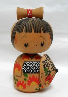 Vintage Japanese Kokeshi Doll Artist Signed on Umbrella