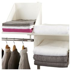 Stow shirts, sweaters, or extra linens in this versatile organizer set, a perfect addition to your master suite walk-in or guest room closet.