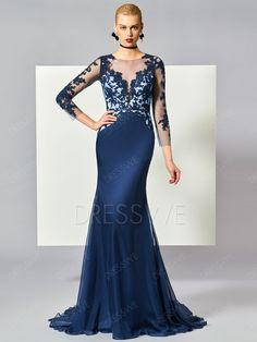 3/4 Sleeve Lace Applique Mermaid Evening Dress With Sweep Train 12746775 - Evening Dresses 2017 - Dresswe.Com