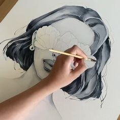 Brush: Polina Bright synthetic brush Paper: Canson 300 gsm cold pressed art Painting hair by Polina Bright Cool Art Drawings, Pencil Art Drawings, Art Drawings Sketches, Watercolor Portraits, Watercolor Paintings, Watercolor Brushes, Watercolor Portrait Tutorial, Watercolor Video, Watercolour