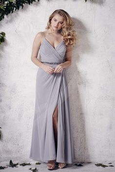 Jacquelin Bridals Canada - 22659 - Bridesmaids - Chiffon A-line gown with V-neck, spaghetti straps, beaded belt, and side slit.