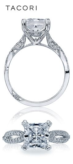 Classic, elegant, and fit for a princess. Two almond-shaped crescents of round diamonds flank a princess-cut center diamond on high-polished platinum, with diamonds accentuating delicate Crescent Silhouette details from all angles.