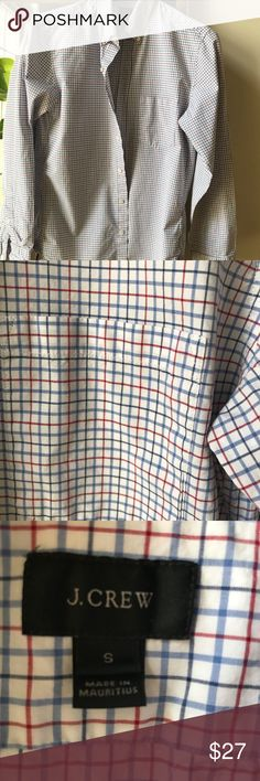 """J. Crew Secret Wash shirt engine red check Slim fit size S Good used condition Currently Sold Out online chest 20"""" length 28"""" sleeve 25"""" J. Crew Shirts Casual Button Down Shirts"""
