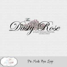 Pre-made Rose Logo Custom Colors Small Business Marketing Antique Florist Flower…