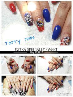 erry nails #refil#dopo 5 settimane.#acrilico#color#gel#blu elettrico#orange#nailart#acrilico#foil
