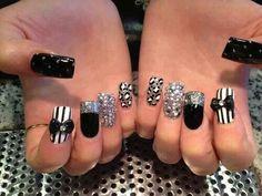 Black/White/Silver glitter cheetah bow dots