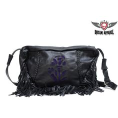 Women's Purple Rose Inlay Motorcycle Black Leather Purse