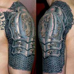 e977b78a8d2c9 Awesome armor tattoo Body Armor Tattoo, Armour Tattoo, Armor Sleeve Tattoo,  Sleeve Tattoos