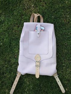 Pastel pink leather Backpack
