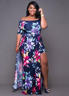 Navy-Blue print curvaceous paneled maxi dress_plus size dress_plus size Dress Plus Size, Plus Size Maxi Dresses, Plus Size Outfits, Short Dresses, Dresses Dresses, Boho Romper, Maxi Romper, Plus Zise, Cheap Plus Size Lingerie