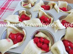 Cherry Pie Bites - Crescent Rolls (2 tubes), Cherry Pie Filling.  14 Min @ 375.  drizzle with powder sugar/milk glaze