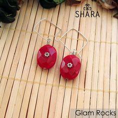 Glam Rocks Earrings- These Crimson small multifaceted glass rocks will glam you u Glass Rocks, Diamond Shapes, Delicate, Drop Earrings, Jewelry, Jewlery, Bijoux, Schmuck, Drop Earring