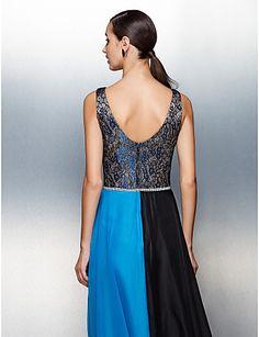 9387a9e91c   107.89  Ίσια Γραμμή Με Κόσμημα Μακρύ Σιφόν Μπλοκ χρωμάτων Χοροεσπερίδα    Επίσημο Βραδινό Φόρεμα με Δαντέλα   Ζώνη   Κορδέλα με TS Couture®