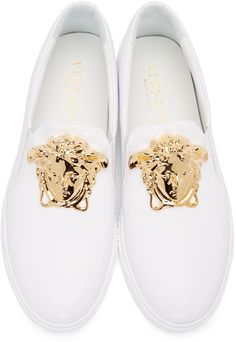 Versace - White Leather Medusa Slip-On Sneakers Versace Sneakers, Versace Shoes, Versace Men, Versace Clothing, Prom Shoes, Men's Shoes, Dress Shoes, Mens Fashion Shoes, Sneakers Fashion