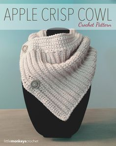 The Apple Crisp Crochet Cowl, a free crochet cowl pattern by Little Monkeys Crochet. Make it with 360 yards of Vanna's Choice and sizes I mm) and K mm) crochet hooks. Diy Tricot Crochet, Col Crochet, Crochet Scarves, Crochet Shawl, Crochet Crafts, Crochet Clothes, Crochet Projects, Crochet Apple, Double Crochet