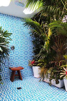 gorgeous tiles.  outdoor shower.  heaven.    via MarciaPrentice | desire to inspire