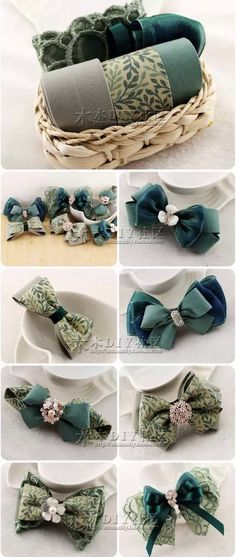 Discover thousands of images about Lace and ribbon hair bows. Ribbon Art, Diy Ribbon, Ribbon Crafts, Ribbon Bows, Ribbons, Diy Headband, Baby Headbands, Fabric Bows, Fabric Flowers