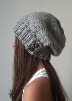 Knit slouchy hat - HEATHER GRAY (more colors available - made to order). $35.00, via Etsy.