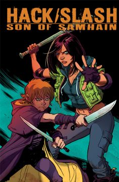 HACK/SLASH RETURNS!  http://www.comicbookresources.com/?page=article&id=51778  Written by Steve Seeley and Michael Moreci with art by Emilio Laiso.  This cover by Cameron Stewart  #hackslash