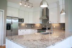 Shortt Stories: Kitchen Reveal! Gray and white kitchen with Bianco Antico granite