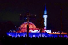 "Glow2017 eindhoven Fatih mosque title ""shine like the whole universe is yours"" (rumi)  great project: concept + lighting design: the Lux lab music: Thijs Lodewijk visuals: berry sanders programming: Appie Kremers + will taubert"