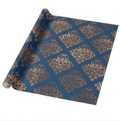 Bon Elegant Navy Blue Copper Gold Damask Pattern Wrapping Paper