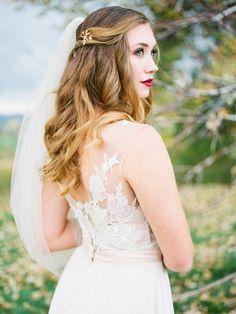 Illusion back lace wedding dress: http://www.stylemepretty.com/little-black-book-blog/2015/11/25/autumn-orchard-wedding-inspiration/   Photography: Callie Hobbs - http://calliehobbsphotography.com/