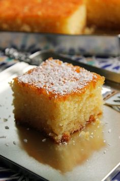 the Old Curiosity Shop: Revani: Turkish Semolina Cake Soaked in Syrup - Dessert - French Turkish Sweets, Greek Sweets, Greek Desserts, Gourmet Desserts, Plated Desserts, Food Cakes, Tea Cakes, Baking Cakes, Deserts