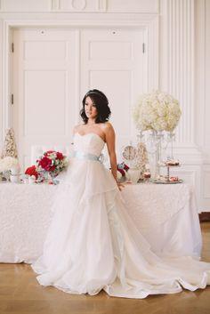 gorgeous strapless Blush Bridal Couture wedding dress