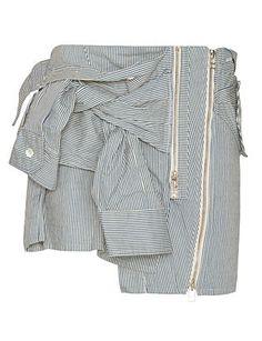 Faith Connexion Sleeve Tie Striped Mini Skirt
