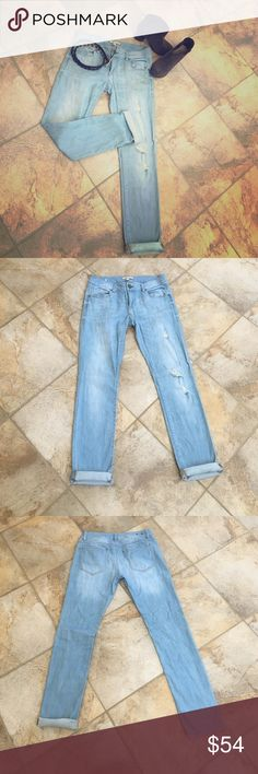 "Cabi deconstructed jeans Washed but never worn! Like new! No wear! Washed once & air dried. Cabi deconstructed jeans. Size 2. Can be worn cuffed or tucked into boots. Extremely versatile. Waist 15"". Inseam 31. CAbi Jeans Straight Leg"
