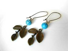 Brass Branch Turquoise Bead Earrings Antique Brass Leaf