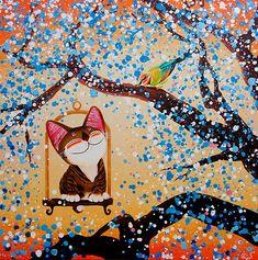 cute cat by Paul Koh Philippine Art, Image Cat, Watercolor Cat, Bouquet, Elephant Art, Pictures To Paint, I Love Cats, Art Google, Cat Art