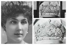 Ansorena Heart Tiara: When she married King Alfonso XIII of Spain in 1906, Ena received this pearl tiara, made by Ansorena, from her new mother-in-law, Queen Maria Christina. na was never photographed wearing it; indeed, the only photo of the tiara I've been able to track down is from the record of Ena's wedding gifts. In the 1920s, it was broken up and used by Cartier to create the diamond and pearl tiara worn today by Queen Sofia.