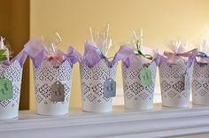 Bridal Shower Favors – Candleholders and Custom Matchboxes {Wedding Wednesday}