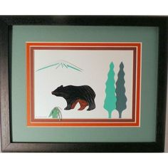 Quilled Black Bear original framed handcrafted wall art | QuillingbySandraWhite - Housewares on ArtFire