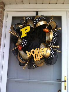Purdue University Deco Mesh Wreath  Black and Gold by QueenWreaths, $100.00