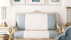 Striped settee   Suzanne Kasler for Hickory Chair