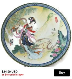 #vintageporcelainplate #imperialjingdezhen #asianoriental #geisha #gotvintage