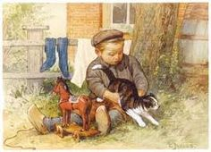 ot en sien - Google zoeken Vintage Book Art, Vintage Prints, Art And Illustration, Animal Graphic, Cat Cards, Victorian Art, Dutch Artists, Children Images, Vintage Children