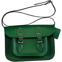 11-inch Classic Satchel made from Sherwood Green Leather (£95) ❤ liked on Polyvore featuring bags, handbags, green purse, handbag satchel, leather satchel, green satchel handbag and satchel purses