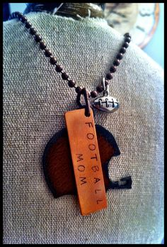 Hand Stamped, Rustic, Recycled Metal FOOTBALL MOM, Football Helmet Mom Charm Pendant Cluster Inspirational Necklace