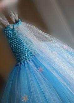 Elsa Inspired Frozen Princess Tutu Dress w/ Tulle Cape - Halloween Costume -  2T 3T 4T 5T 6 7 8 - Disney Inspired