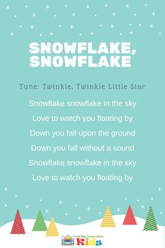 A fun song for a winter storytime or lesson! Kids know the tune and will have a blast singing along. - Kids education and learning acts Preschool Music, Preschool Activities, Winter Songs For Preschool, Snowflakes, Christmas Concert, Christmas Songs For Kids, Winter Songs For Kids, Christmas Music, School