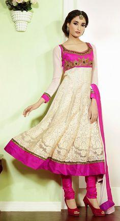 Gorgeous Off White & Pink Salwar Kameez