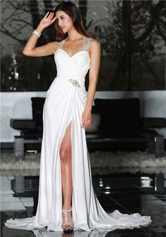 Chiffon gown with a high slit and heavily beaded straps