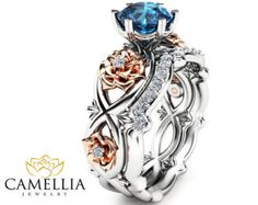 White Gold Floral Wedding Ring Bridal Set Blue Topaz Engagement Ring Diamond Wedding Band - It just doesnt get any better than this! Our impressive custom handmade blue topaz engagement ring, - Leaf Engagement Ring, Handmade Engagement Rings, Vintage Engagement Rings, Morganite Engagement, Morganite Ring, Engagement Jewelry, 3d Video, Perfect Day, Bridal Ring Sets