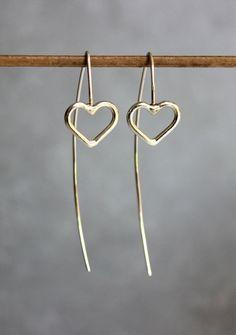 Silver heart earrings, Long silver earrings, Drop earrings, Birthday gift, Mom, Modern earrings. on Etsy, 131.26₪
