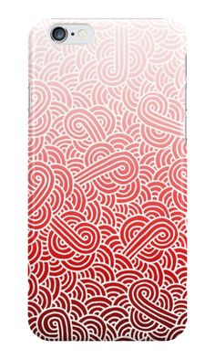 """""""Ombre red and white swirls zentangle"""" iPhone Cases & Skins by @savousepate on @redbubble #iphonecase #phonecase #iphoneskin #phoneskin #pattern #drawing #doodles #zentangle #abstract #ombre #gradient #red #pink #blush #scarlet #crimson #fiesta #carmine #maroon #burgundy"""