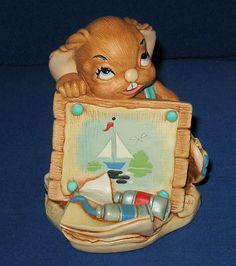 Vintage PenDelfin Rabbit ANGELO Blue Scarf Signed JEAN WALMSLEY HEAP